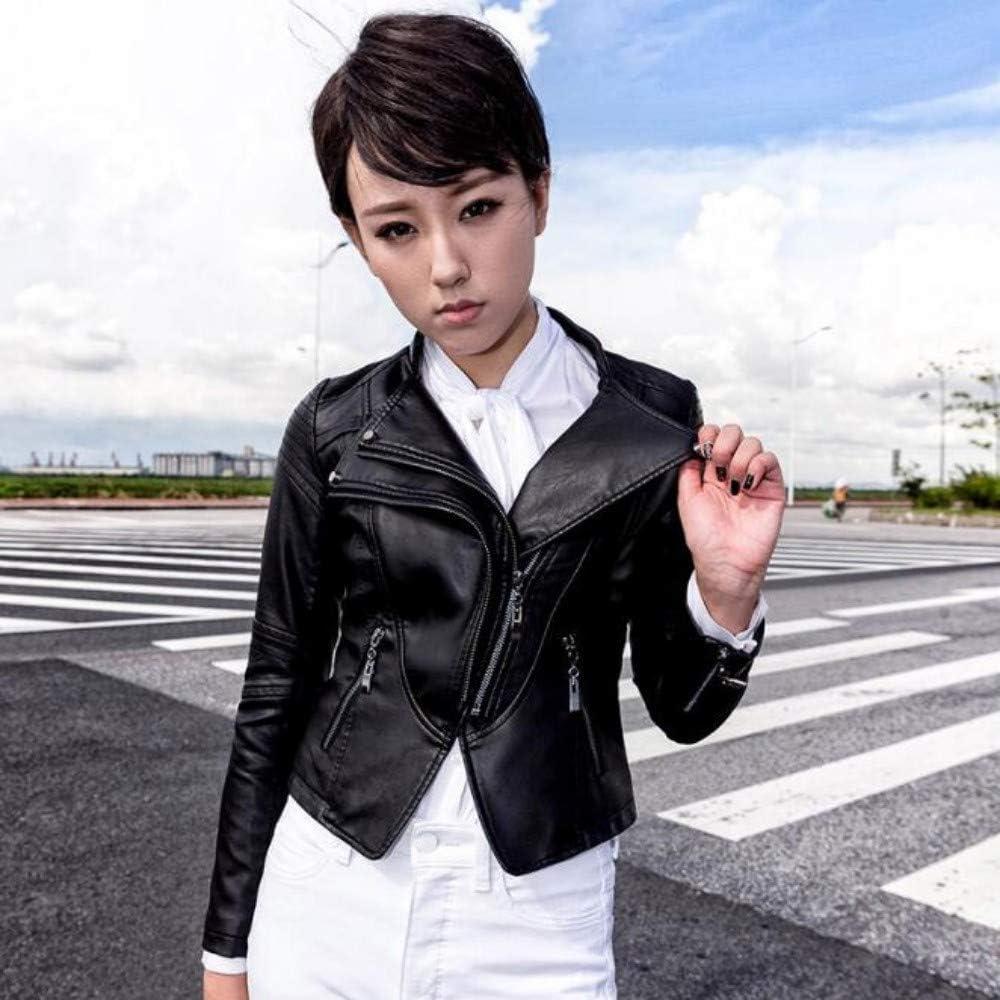 XL_nspiyi Damen Lederjacke, schmaler Mantel, Stehkragen schwarz