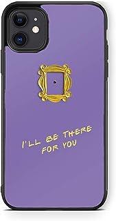 XUNQIAN Compatible for iPhone 12 Case, iPhone 12 Pro Case, Friends Show Purple Door Gold Frame Art Thin Soft Black TPU +Te...