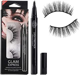 MKYUHP 9D Magnetic Eyelashes with Eyeliner Kit, Natural Look, Waterproof, Reusable Synthetic Mink Magnetic Eyelashes, Visc...