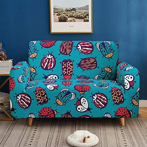 Funda de sofá de 1 Plazas Funda Elástica para Sofá Poliéster Suave Sofá Funda sofá Antideslizante Protector Cubierta de Muebles Elástica Mariquita Animal Colorida Funda de sofá