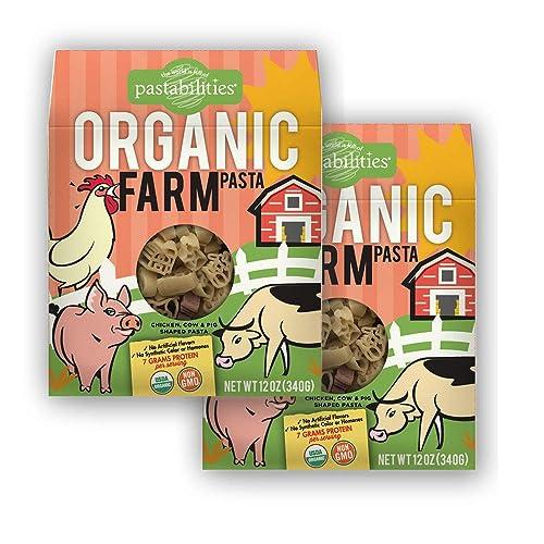 Pastabilities Organic Kids Pasta, Fun Farm Shaped Noodles, Non-GMO Natural Wheat Pasta (12 oz, 2 Pack)