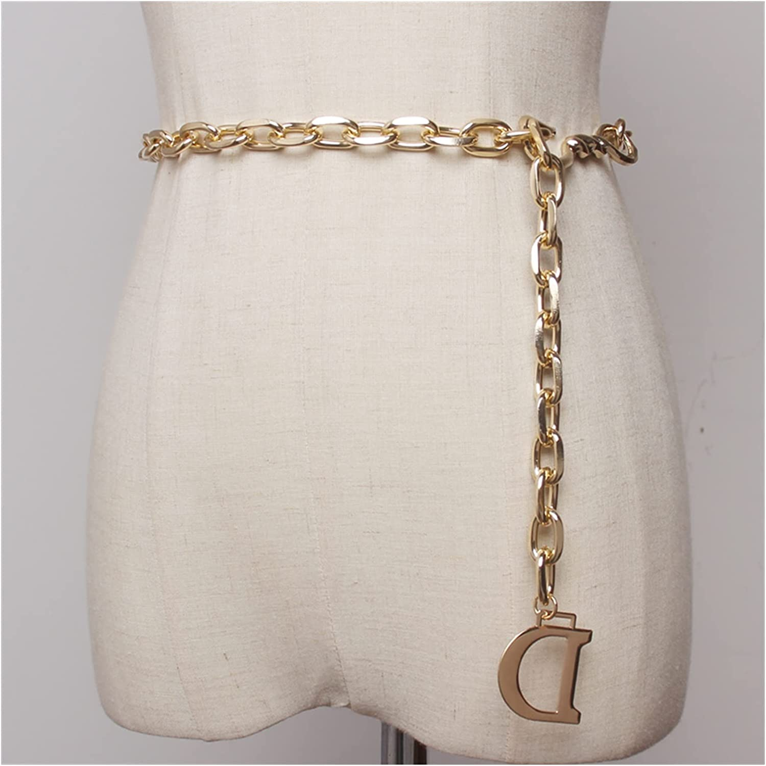 FANGLMY Belt Fashion 2021 spring and summer new Online limited product D Letter Women Thin Chain Metal Waist