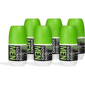 Marchio Amazon - Solimo MEN Deodorante roll-on anti-traspirante per uomo, protezione attiva, invisibile, profumazione fresca, Confezione da 6 (6x50 ml)