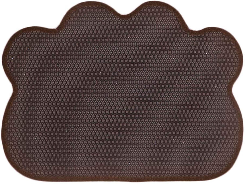 Cat Litter Box Mat Pad Filter Mat Eva Pet Feeding Mat Double Layer Honeycomb Foldable NonSlip Washable Predect Floor,Darkbrown