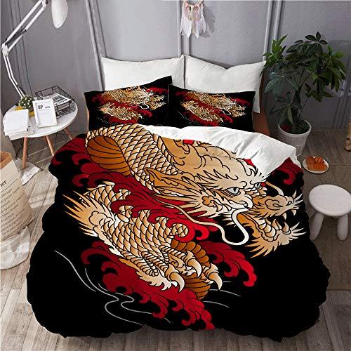 PENGTU Set Biancheria da Letto,Illustrazione del Drago di Stile Giapponese progettata Orientale,Set Copripiumino in Microfibra,Matrimoniale,1 Copripiumino220 x 240cm + 2 federe 50 x 80 cm
