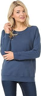 YURO-K Women's Pigment Dyed Cotton Long Sleeve Crew Neck Vintage Raglan Sweatshirt Pullover
