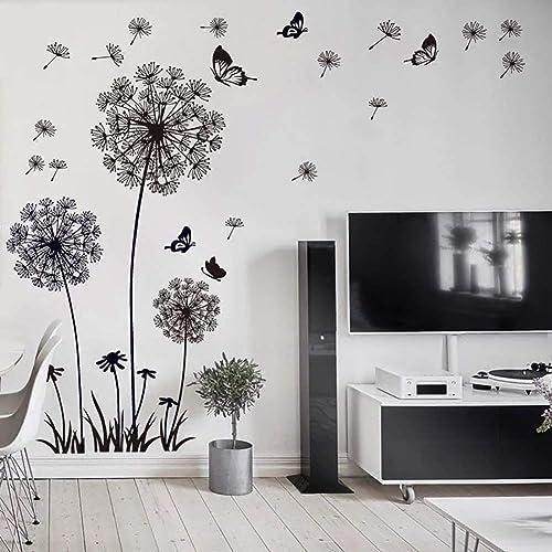 WandSticker4U®- XL Stickers muraux FLEURS DE PISSENLIT noir (165x130 cm) I papillon plantes branche arbre I autocolla...