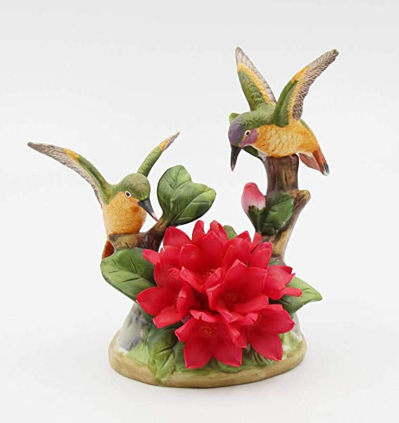 Cosmos Gifts Fine Elegant Porcelain Double Hummingbird With Red Malus Flowers Figurine 5