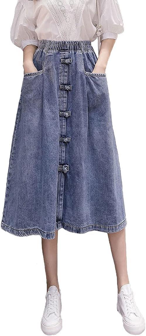 ebossy Women's High Waist Stretchy Denim Button Front Jean Midi Skirt with Pocket