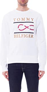 Tommy Hilfiger - Men's White Sweatshirt with Navy Embroidery
