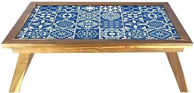 Nutcase Designer Lapdesk Breakfast Bed Table-Foldable Teak Wooden Study Desk - Azulejo