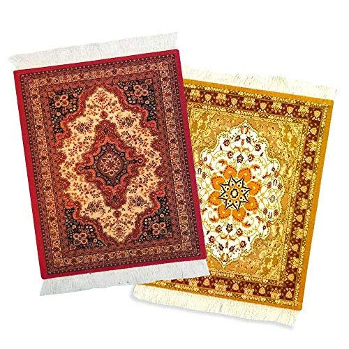 Rug Mouse Pad – 2 Pack - Persian Rug Mouse Pad – Oriental Rug Computer Mousepad – Persian Desk Rug Coaster Mouse Pad