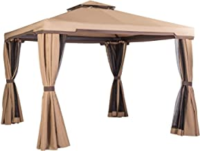 Oakmont 10' x 10' Soft-Top Patio Gazebo, Outdoor Gazebo Canopy with Net Drapery, Mosquito Netting and Shade Curtains (Brown)