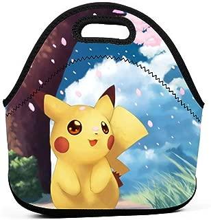 Insulated Neoprene Picnic Storage Bag Gourmet Handbag For Men Women - Detective Pikachu Movie Kawaii Pikachu Cute Yellow Pet Lunch Bags - Reusable Zipper Bento Lunch Box Food Tote