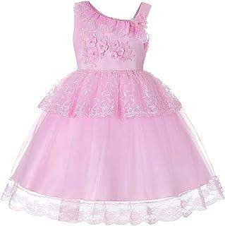 Baby Girls Children's Slanted Shoulder Strap Lace Princess Dress (Color : Pink, Size : 140cm)