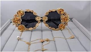 LUKEEXIN High Class Luxury Vintage Handmade Metal Gold Butterfly Flower Polarized Baroque Sunglasses for Women Pearl Eyewear Retro Style Tassel Chain Sunglass (Color : Gold)