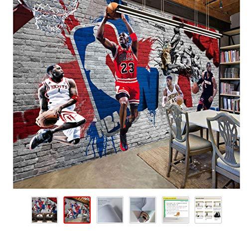 Basketball Sport Foto Tapeten Wandbild Kinderzimmer Tapeten 3D Wohnzimmer Bar Wohnkultur Selbstklebende Tapete 200(L) x140(H) cm