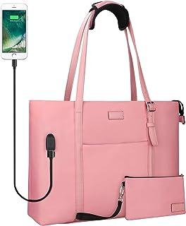 USB Laptop Tote Bag,Chomeiu Woman 15.6 inch Laptop Organizer Bag Teacher Work Purse (Pink)