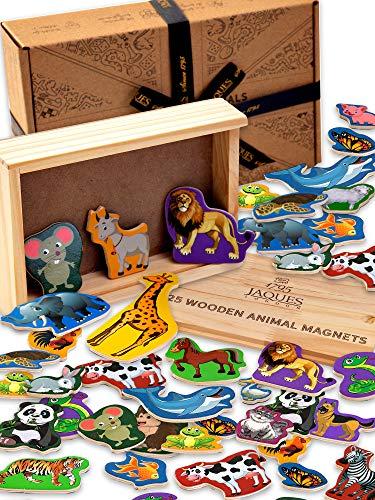 Jaques Von London Tier Magnet - Kühlschrankmagnete Kinder in Holzkiste perfekt magnetspielzeug ab 1 2 3 Jahre