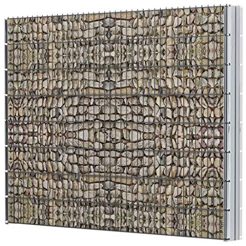 Tidyard Doppelstabmattenzaun Zaun Komplettset Gabionenzaun Gabione 2008 x 1630 mm Mit Zaunpaneel,Zaunpfahl,Zaunanlage Gartenzaun,Maschenweite:200 x 50 mm,Verzinkt