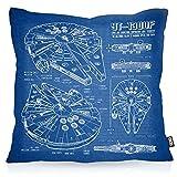 VOID Halcón Milenario Cianotipo Cojín con Dibujo Funda de cojín Funda para Outdoor Indoor Fotocalco Azul, Kissen Größe:40 x 40 cm