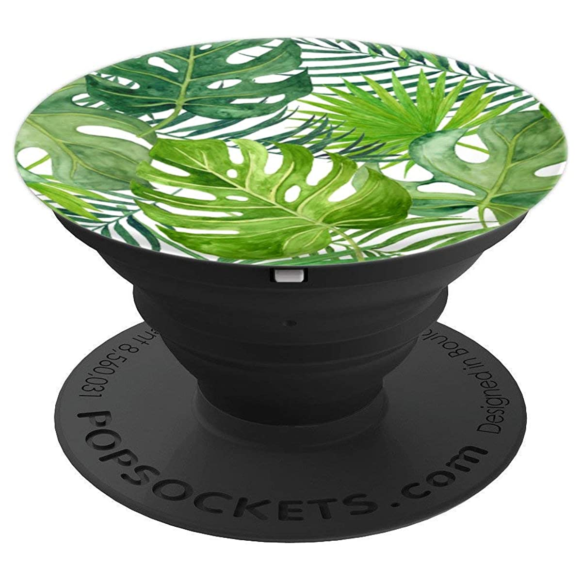 Green Tropical Watercolor Palm Trees Leaves Design - PopSockets Grip and Stand for Phones and Tablets