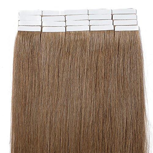 """20 Pcs Extension Adhesive Naturel Rajout Vrai Cheveux Humain Bande Adhesive Lisse (#06 Châtain clair, 22""""(55cm))"""