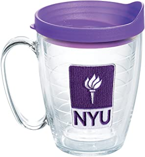 Tervis NYU Violets Logo Insulated Tumbler with Emblem and Purple Lid, 16oz Mug, Clear