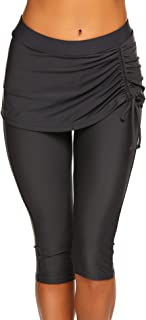 Women Capri Swim Pants Skirted Swim Tights UV Board Shorts Rash Guard Swimsuit Leggings