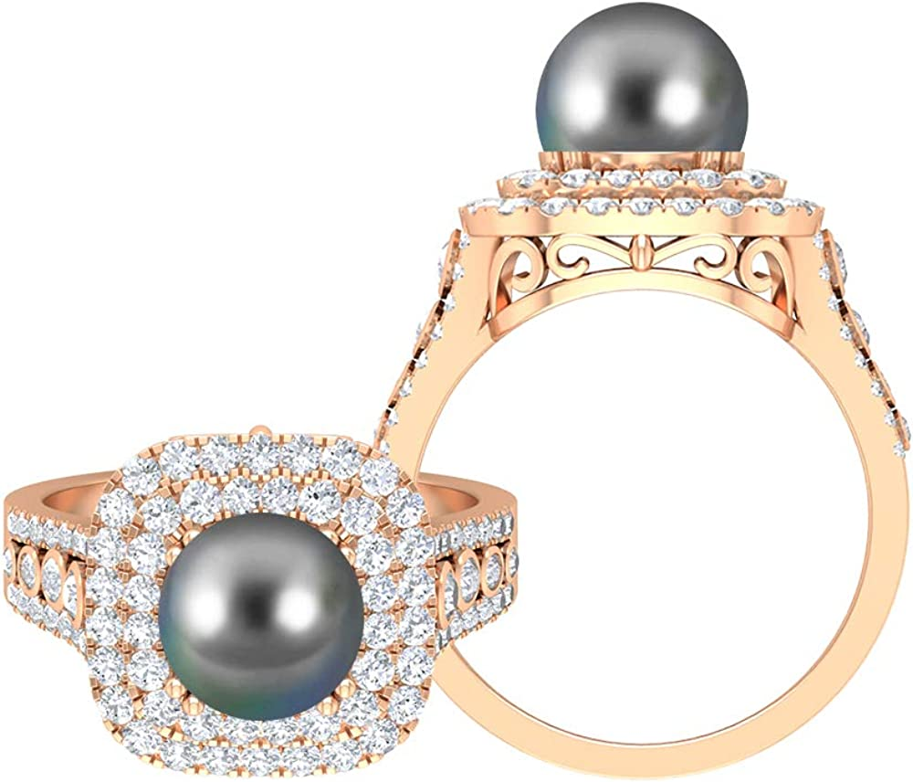 4.5 CT Sacramento Mall Tahitian Pearl Solitaire Ring 1.1 favorite Moissanite D D-VSSI
