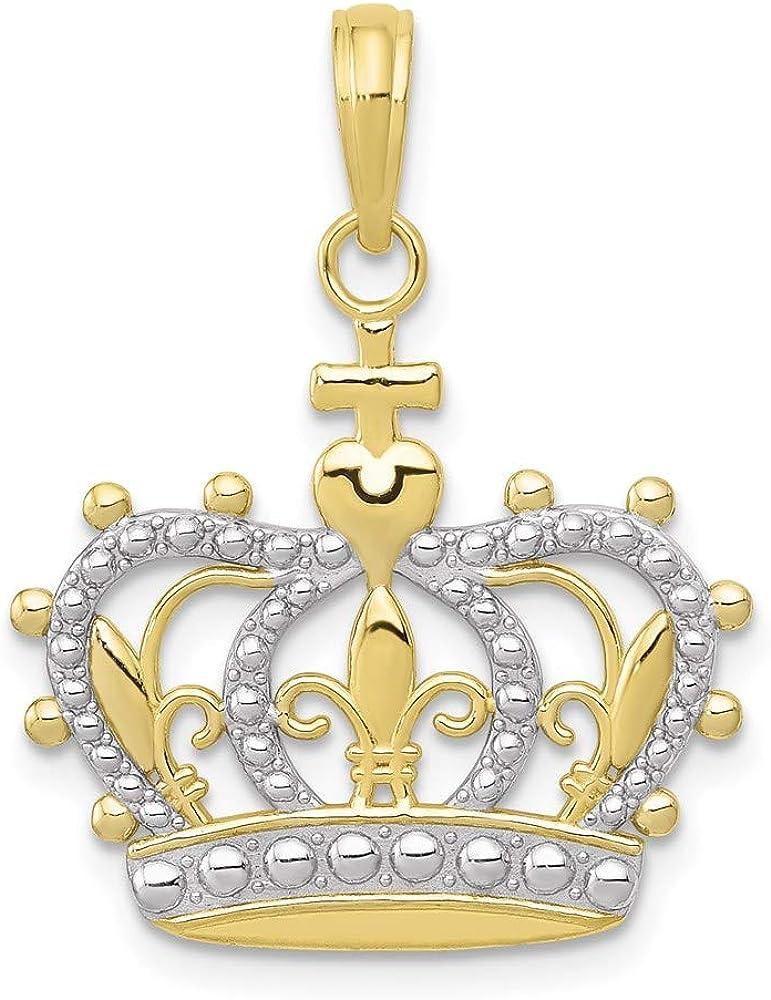 10k Yellow Gold with Rhodium Charm Pieces Crown Pendant 3 有名な 直営ストア