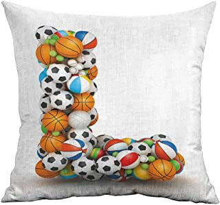 warmfamily Simple Pillowcase Letter L Basketball Football Volleyball Tennis Athleticism Teamplay Motivation Theme Print Suitable for Hair and Skin Health W18 xL18 Multicolor