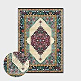 Alfombras Salon Grandes,Boho Large Size Non Slip Area Rugs Vintage Turkish Style Geometry Beige Green Soft Ethnic Carpet Outdoor Picnic Mat Art Home Decor For Living Dining Room Bedroom Kitchen,100X