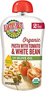 Earth's Best Organic Stage 2 Baby Food, Pasta with Tomato/White Bean with Olive Oil, 12 Count