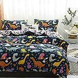 BH-JJSMGS Kissenbezug Bettwäsche, leichte Mikrofaser-Bettbezug 240 * 220 dreiteiligen Dinosaurier