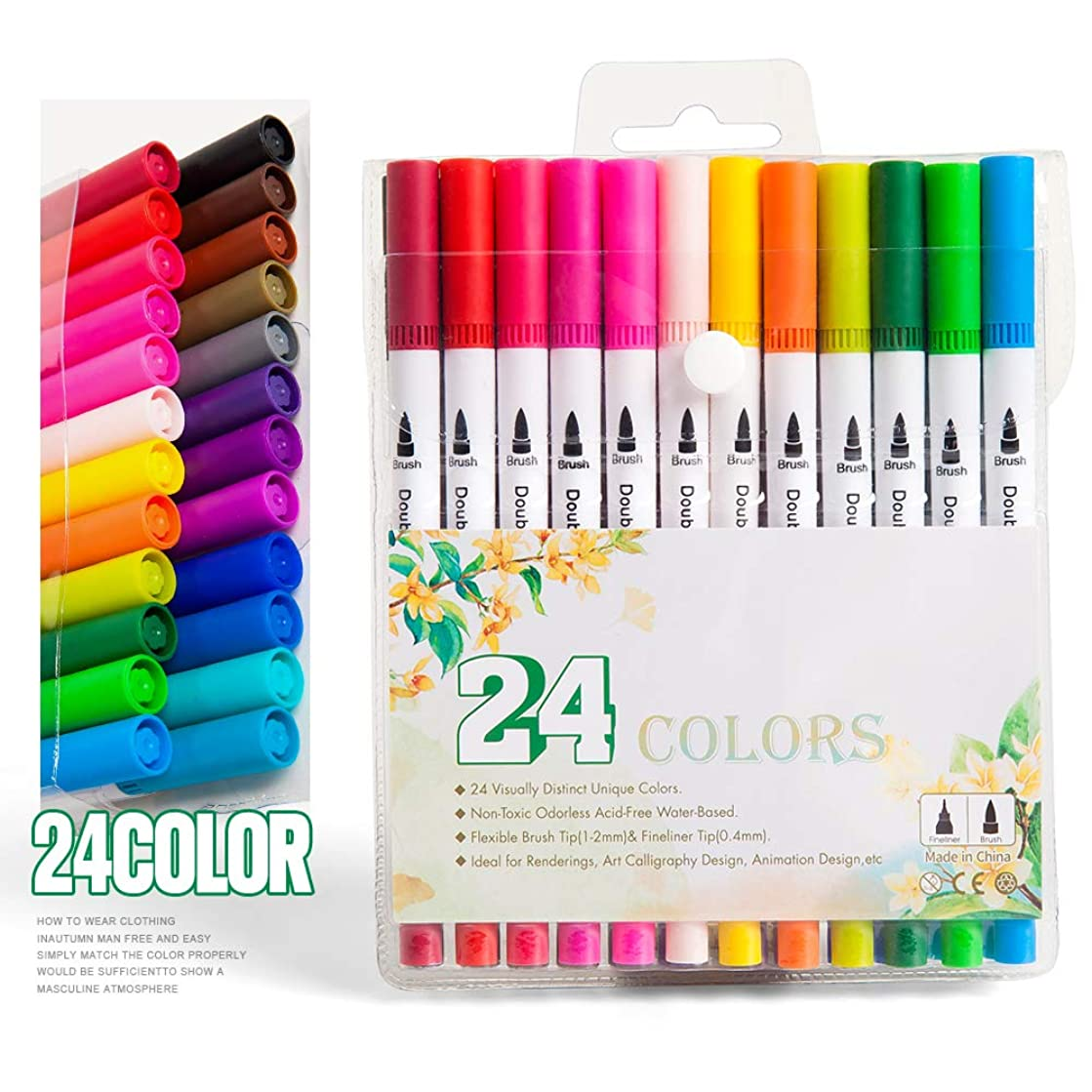 Hethrone Dual Tip Brush Marker Pens Set with 1-2 mm Soft Flexible Brush Tip and 0.4 mm Fineliner Tip (24 Color White)