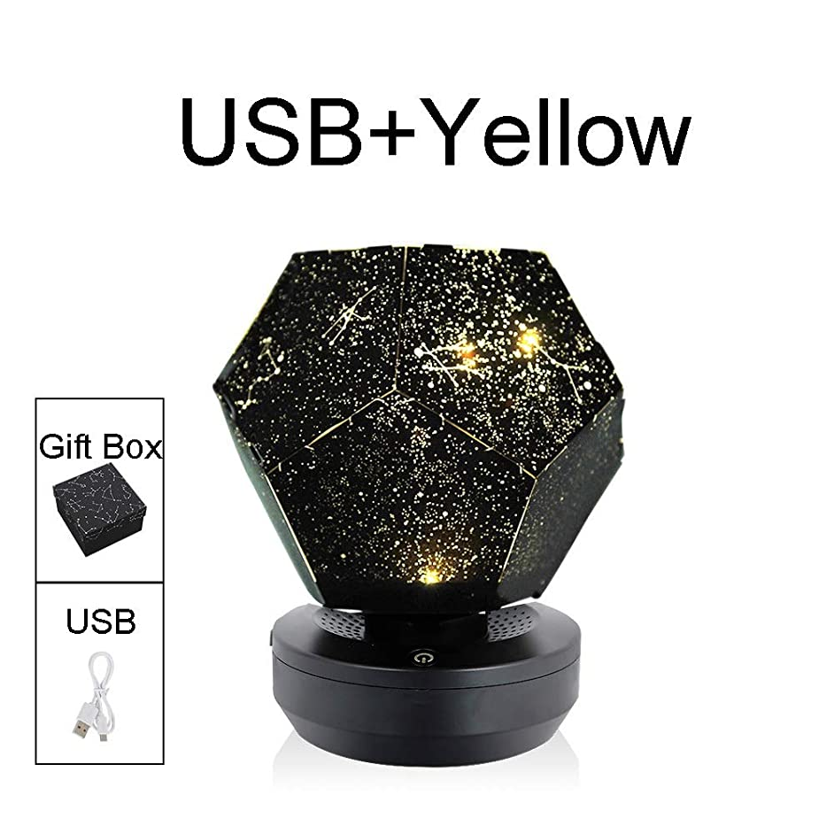 KUVV Perfecto Bluetooth Remote Rotate Beautiful Portable Built-in music Free assembly USB socket PET material ABS lamp cover material Night light (Color : USB+Yellow)