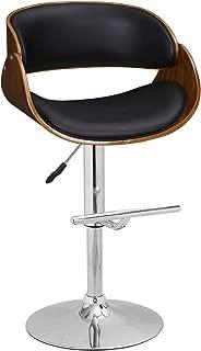 Adeco Black Adjustable Height Counter Stool Plywood Barstool Chrome Finish Pedestal Base