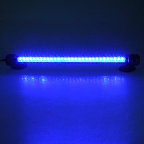 Zhangming Lumière d'aquarium décoration d'aquarium Submersible 30 LED 2W 28.5CM éclairage Bleu étanche Bar Phares au xénon pour Fish Tank, Prise EU (28.5CM Bleu)