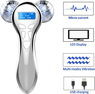 4D Microcurrent Facial Massager Roller, Electric RechargeableFace Lift Beauty Roller Body Massage for Anti Aging Wrinkles, improve Facial Contour, Skin Tone Reduction and Firm Body Skin (Silver)