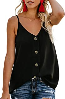 Women's Button Down V Neck Strappy Cami Tank Tops Casual Sleeveless Blouses Vest