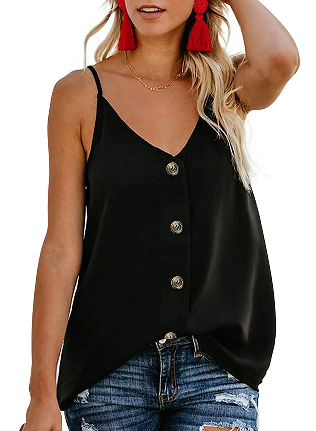 Sousuoty Women's Summer Deep V Neck Shirts Button Down Spaghetti Strap Tank Tops