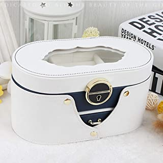 Jewellery Box Trinket Box Jewellery Boxes Transparent Double Jewellery Box Simple Large Capacity Storage Box Ring Jewelry Storage Box (Color : Beige, Size : 22 * 11.5 * 11.5cm)