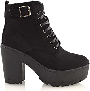 ESSEX GLAM Womens Synthetic Chunky Platform Cleated Sole Lace Up Ankle Boots