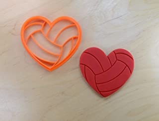 Volleyball Love Cookie Cutter (2 x 1.8 inches - cupcake topper size!)