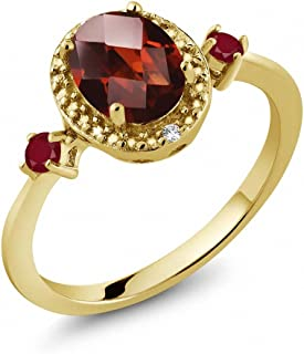 1.65 克拉 椭圆切面 红色 石榴石 搭配 红色 红宝石 925银镀黄金
