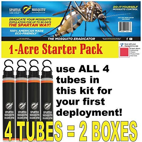 SPARTAN MOSQUITO ERADICATOR - Whole Yard Outdoor Mosquito Protection Solution - Mosquito Free Backyard Garden Patio (Starter KIT - 4 Tubes)