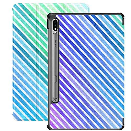 Funda para Samsung Galaxy S7 Plus Plantilla de Vector de Arco Iris Multicolor Claro Funda de Cuero PU repetida para Samsung Galaxy Tab S7 Plus 12.4 Pulgadas 2020, Funda para Samsung Galaxy Tab S7 Pl