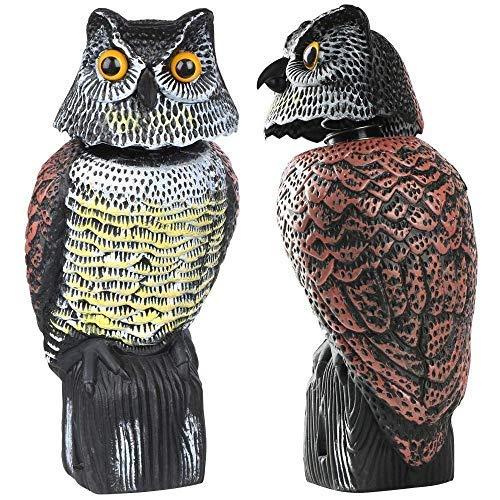 Bravoy - Búhos espantapájaros gira en 360º espantapájaros en forma de búho para exterior, estatua de falso búho con terrible sonido, para ahuyentar y proteger de los pájaros el patio o el jardín