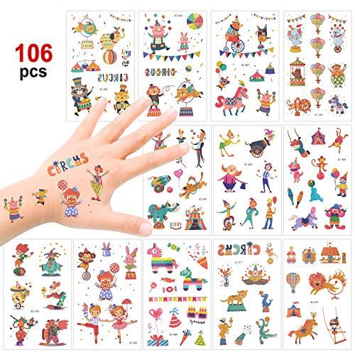 Konsait Zirkus Karneval Temporäre Tattoos Set, Kindertattoos Aufkleber für Jungen Mädchen Kindergeburtstag Mitgebsel Gastgeschenke, 100+ Clown Tier Tattoos Kinder